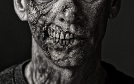 Zombie face up close.