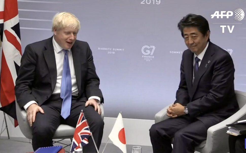 Boris Johnson Shinzo Abe coronavirus UK Japan