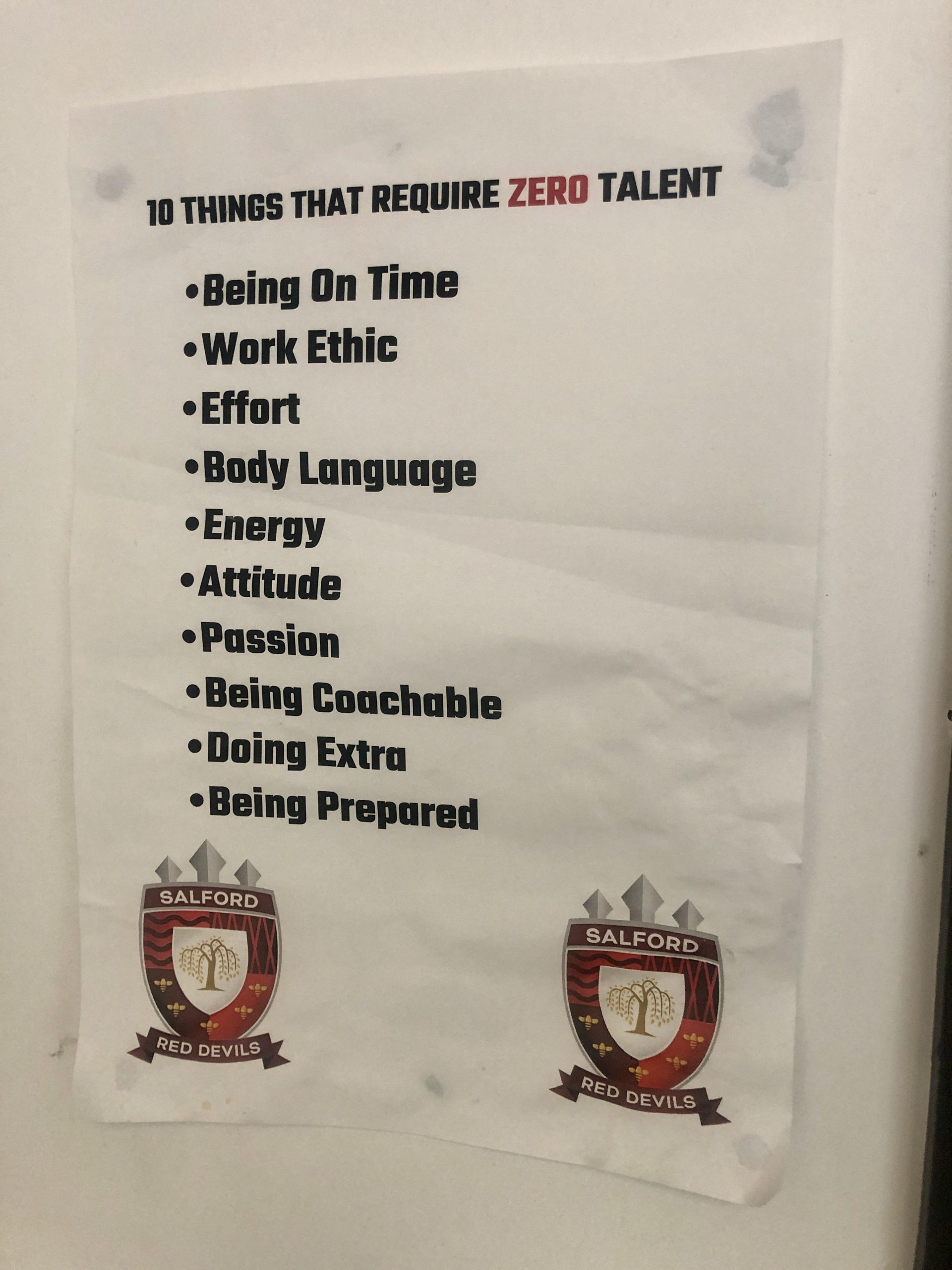 Salford Red Devils 10 things that require zero talent