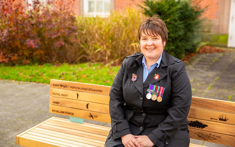 Trafford resident Claire on her National Lottery bench