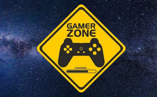 gamer zone sign against a space backdrop