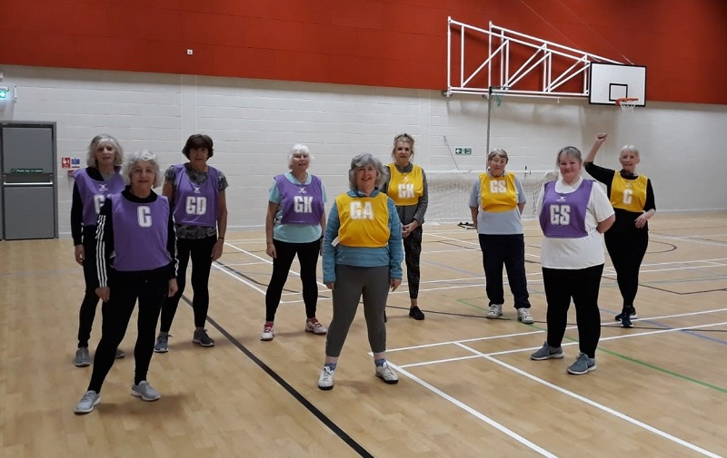 Nia Brodie with Walking Netball side Stockport Sapphires