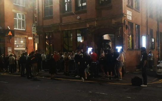 People queuing to enter YES nightclub in Manchester