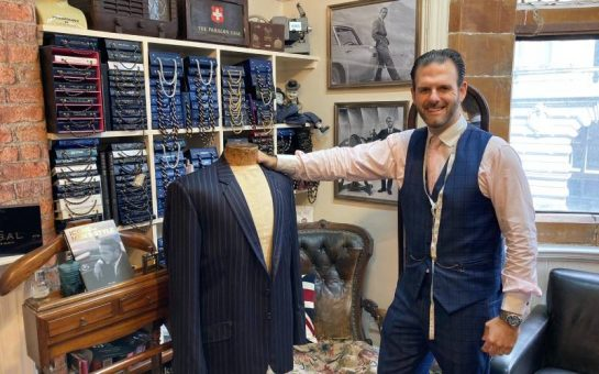 Michael Pendlebury inside his tailoring house